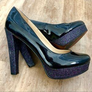 Patent glitter platform heels